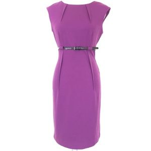 CALVIN KLEIN Sleeveless Belted Purple Dress